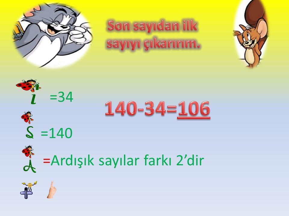=34 =140 tek çift çift tek ilk sayı son sayı =Ardışık sayı lar farkı 2'dir 32 33-34….140-141.142