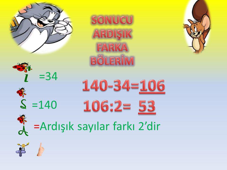 =34 =140 =Ardışık sayılar farkı 2'dir