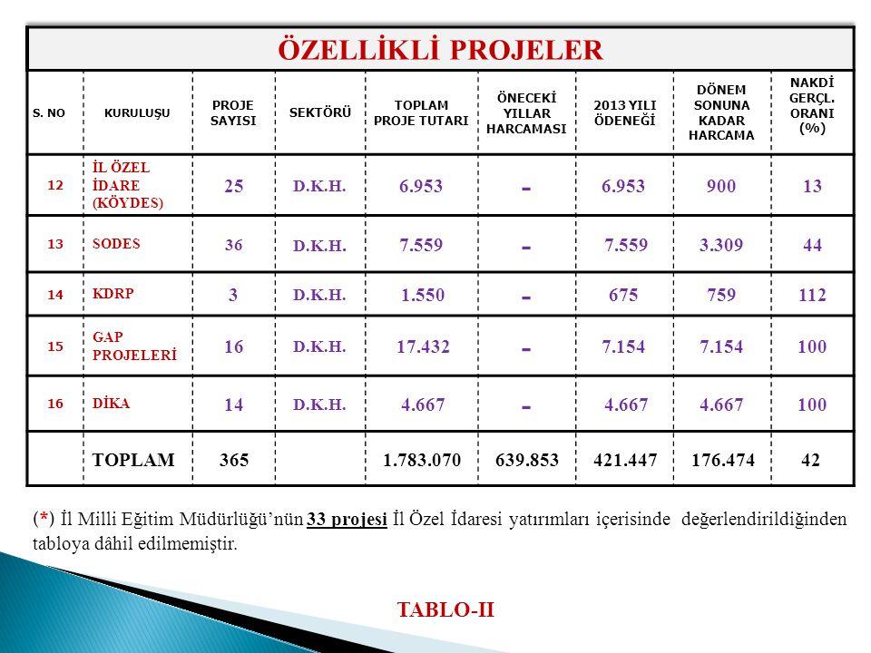 (*) İl Milli Eğitim Müdürlüğü'nün 33 projesi İl Özel İdaresi yatırımları içerisinde değerlendirildiğinden tabloya dâhil edilmemiştir. TABLO-II
