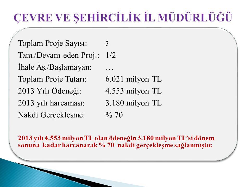 Toplam Proje Sayısı: 3 Tam./Devam eden Proj.: 1/2 İhale Aş./Başlamayan: … Toplam Proje Tutarı: 6.021 milyon TL 2013 Yılı Ödeneği: 4.553 milyon TL 2013