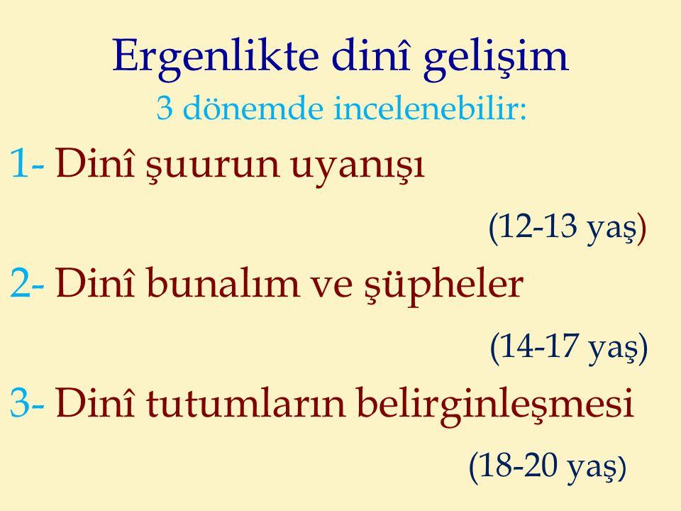 Ergenlikte dinî gelişim 3 dönemde incelenebilir: 1- Dinî şuurun uyanışı (12-13 yaş) 2- Dinî bunalım ve şüpheler (14-17 yaş) 3- Dinî tutumların belirgi