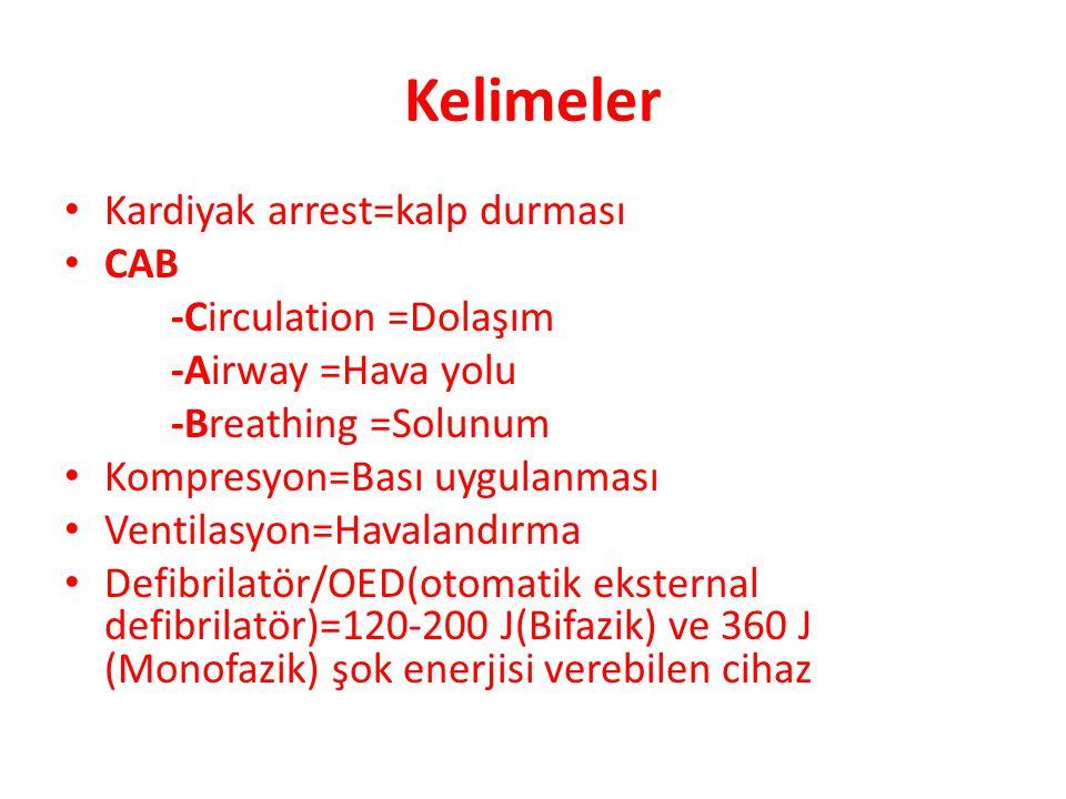 Kelimeler • Kardiyak arrest=kalp durması • CAB -Circulation =Dolaşım -Airway =Hava yolu -Breathing =Solunum • Kompresyon=Bası uygulanması • Ventilasyo