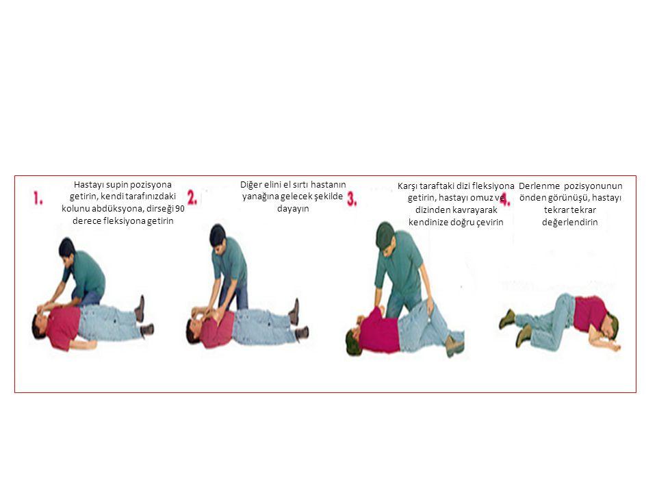 Hastayı supin pozisyona getirin, kendi tarafınızdaki kolunu abdüksyona, dirseği 90 derece fleksiyona getirin Diğer elini el sırtı hastanın yanağına ge