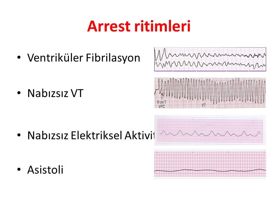 Arrest ritimleri • Ventriküler Fibrilasyon • Nabızsız VT • Nabızsız Elektriksel Aktivite • Asistoli