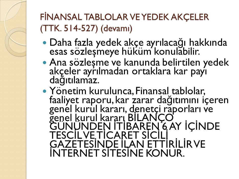F İ NANSAL TABLOLAR VE YEDEK AKÇELER (TTK.