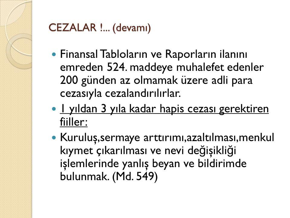 CEZALAR !... (devamı)  Finansal Tabloların ve Raporların ilanını emreden 524. maddeye muhalefet edenler 200 günden az olmamak üzere adli para cezasıy
