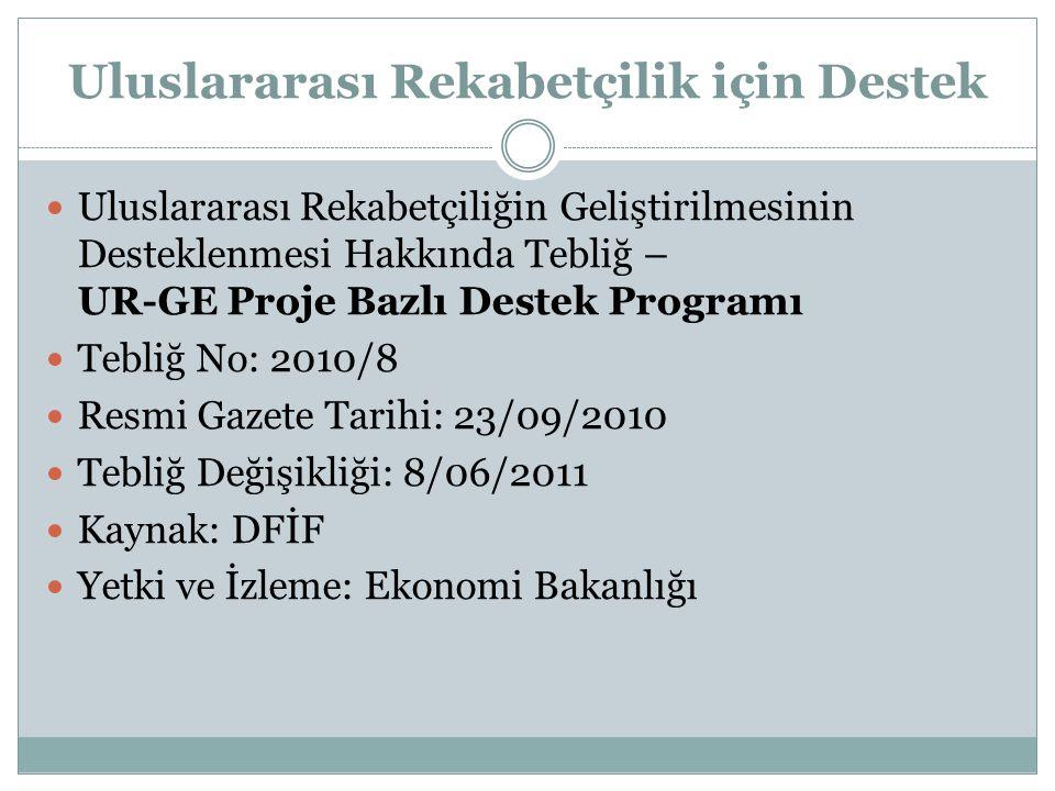 Uluslararası Rekabetçilik için Destek  Uluslararası Rekabetçiliğin Geliştirilmesinin Desteklenmesi Hakkında Tebliğ – UR-GE Proje Bazlı Destek Programı  Tebliğ No: 2010/8  Resmi Gazete Tarihi: 23/09/2010  Tebliğ Değişikliği: 8/06/2011  Kaynak: DFİF  Yetki ve İzleme: Ekonomi Bakanlığı