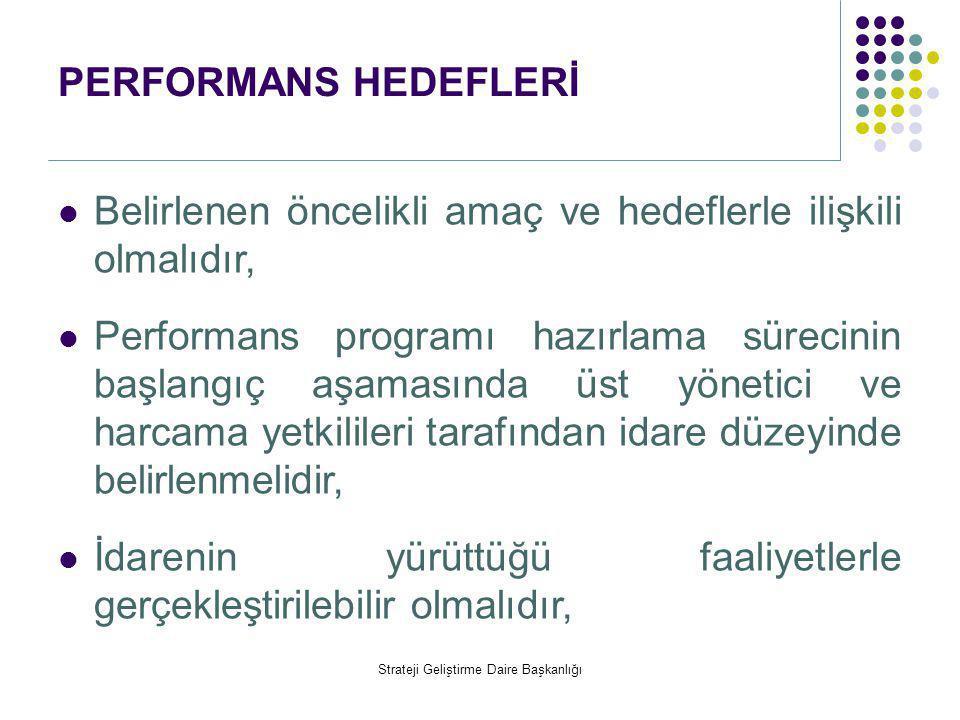 PERFORMANS HEDEFLERİ  Belirlenen öncelikli amaç ve hedeflerle ilişkili olmalıdır,  Performans programı hazırlama sürecinin başlangıç aşamasında üst