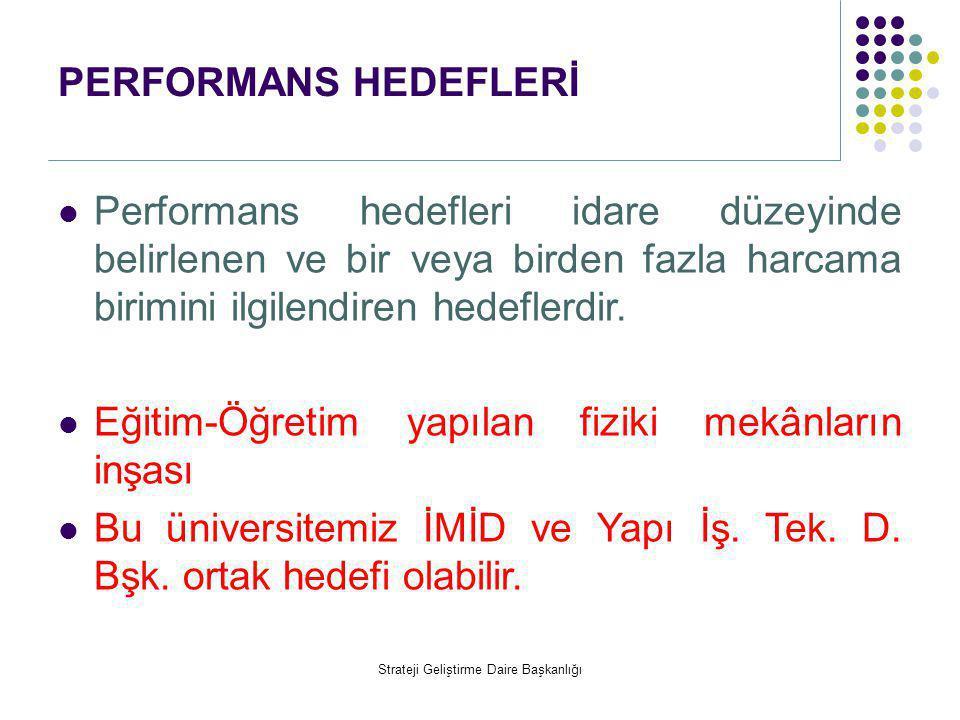 PERFORMANS HEDEFLERİ  Performans hedefleri idare düzeyinde belirlenen ve bir veya birden fazla harcama birimini ilgilendiren hedeflerdir.  Eğitim-Öğ