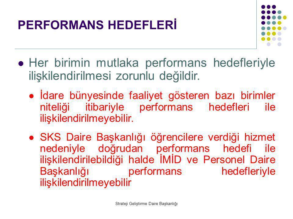 PERFORMANS HEDEFLERİ  Her birimin mutlaka performans hedefleriyle ilişkilendirilmesi zorunlu değildir.  İdare bünyesinde faaliyet gösteren bazı biri