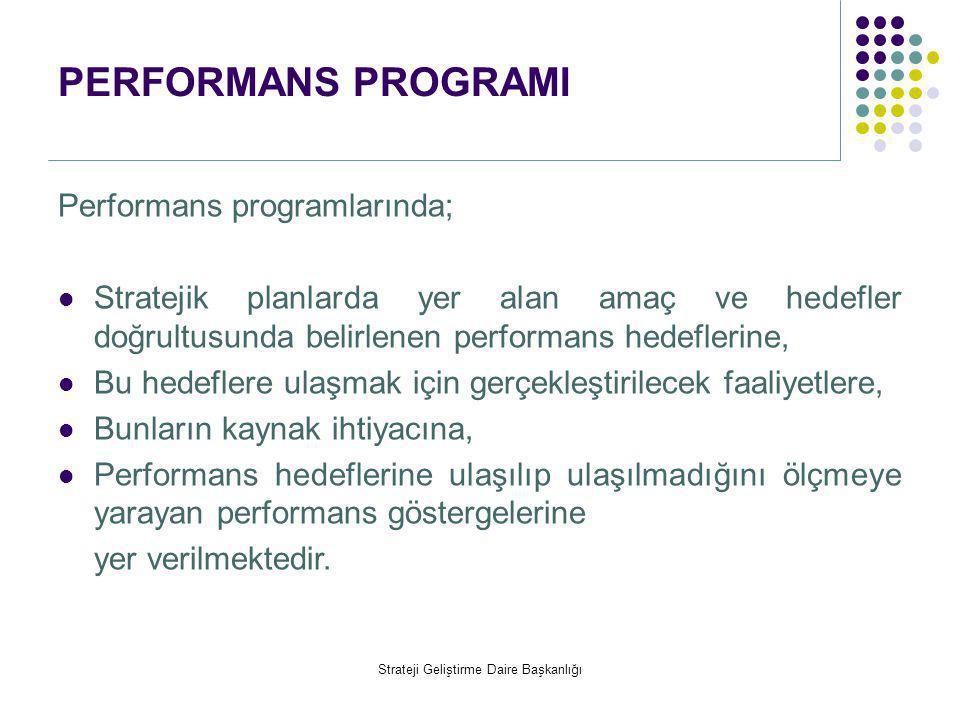 PERFORMANS PROGRAMI Performans programlarında;  Stratejik planlarda yer alan amaç ve hedefler doğrultusunda belirlenen performans hedeflerine,  Bu h
