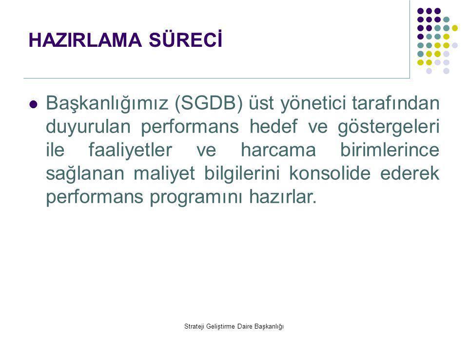 HAZIRLAMA SÜRECİ  Başkanlığımız (SGDB) üst yönetici tarafından duyurulan performans hedef ve göstergeleri ile faaliyetler ve harcama birimlerince sağ