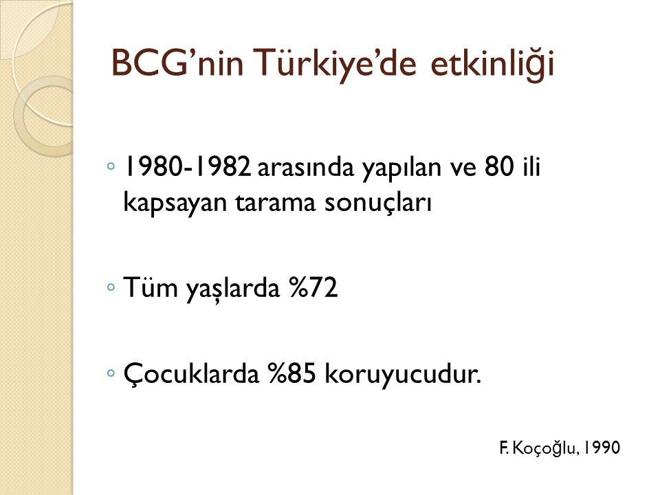 BCG'nin Türkiye'de etkinli ğ i ◦ 1980-1982 arasında yapılan ve 80 ili kapsayan tarama sonuçları ◦ Tüm yaşlarda %72 ◦ Çocuklarda %85 koruyucudur.