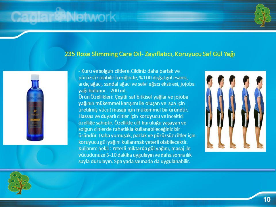 10 235 Rose Slimming Care Oil- Zayıflatıcı, Koruyucu Saf Gül Yağı - Kuru ve solgun ciltlere.Cildiniz daha parlak ve pürüzsüz olabilir.İçeriğinde; %100