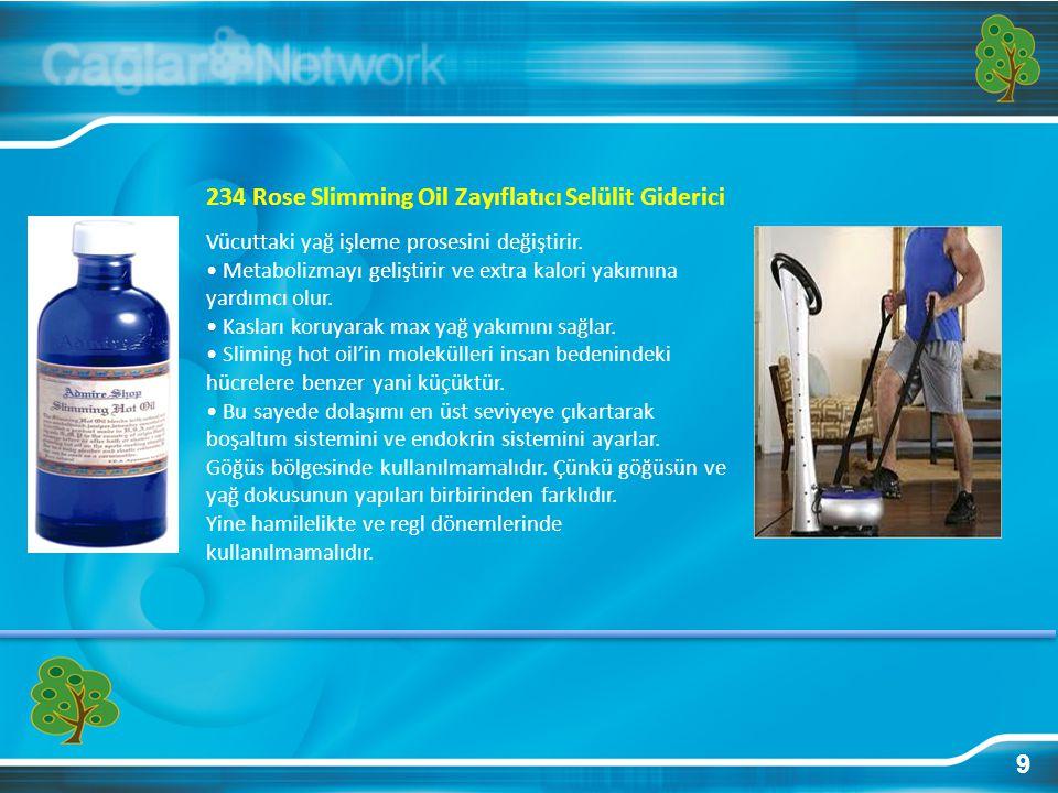 9 234 Rose Slimming Oil Zayıflatıcı Selülit Giderici Vücuttaki yağ işleme prosesini değiştirir. • Metabolizmayı geliştirir ve extra kalori yakımına ya