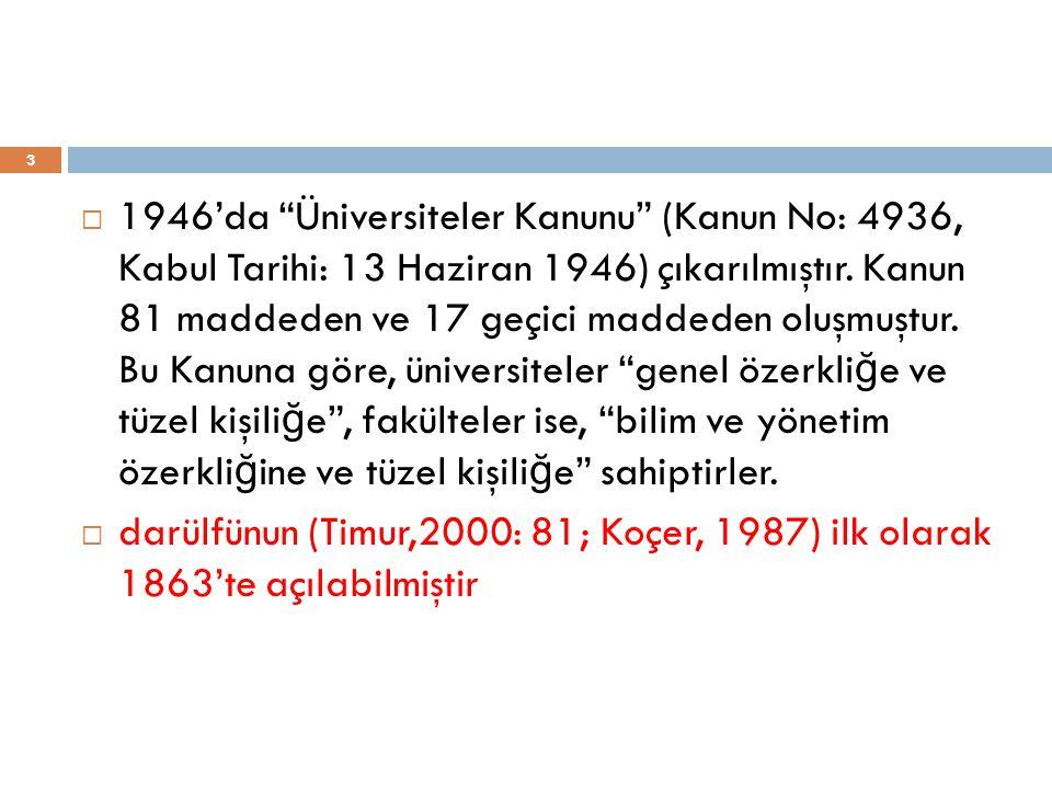 3  1946'da Üniversiteler Kanunu (Kanun No: 4936, Kabul Tarihi: 13 Haziran 1946) çıkarılmıştır.