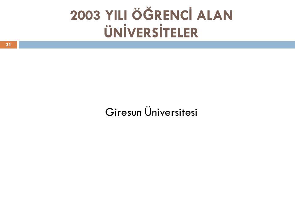 2003 YILI Ö Ğ RENC İ ALAN ÜN İ VERS İ TELER 31 Giresun Üniversitesi