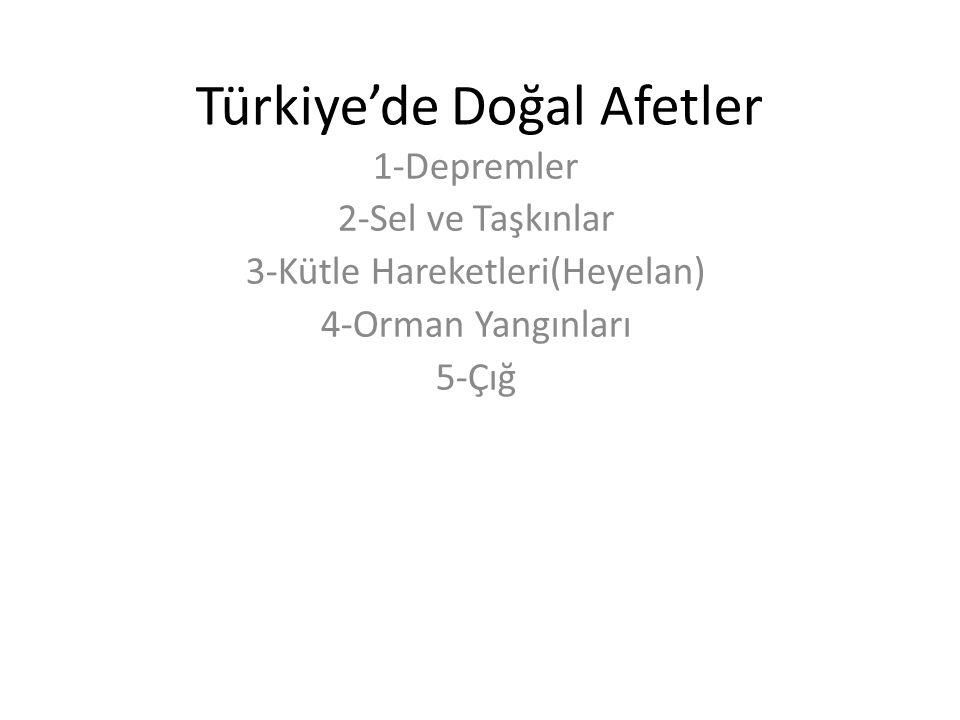 Türkiye'de Doğal Afetler 1-Depremler 2-Sel ve Taşkınlar 3-Kütle Hareketleri(Heyelan) 4-Orman Yangınları 5-Çığ