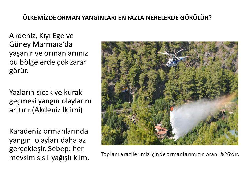 ÜLKEMİZDE ORMAN YANGINLARI EN FAZLA NERELERDE GÖRÜLÜR? Akdeniz, Kıyı Ege ve Güney Marmara'da yaşanır ve ormanlarımız bu bölgelerde çok zarar görür. Ya