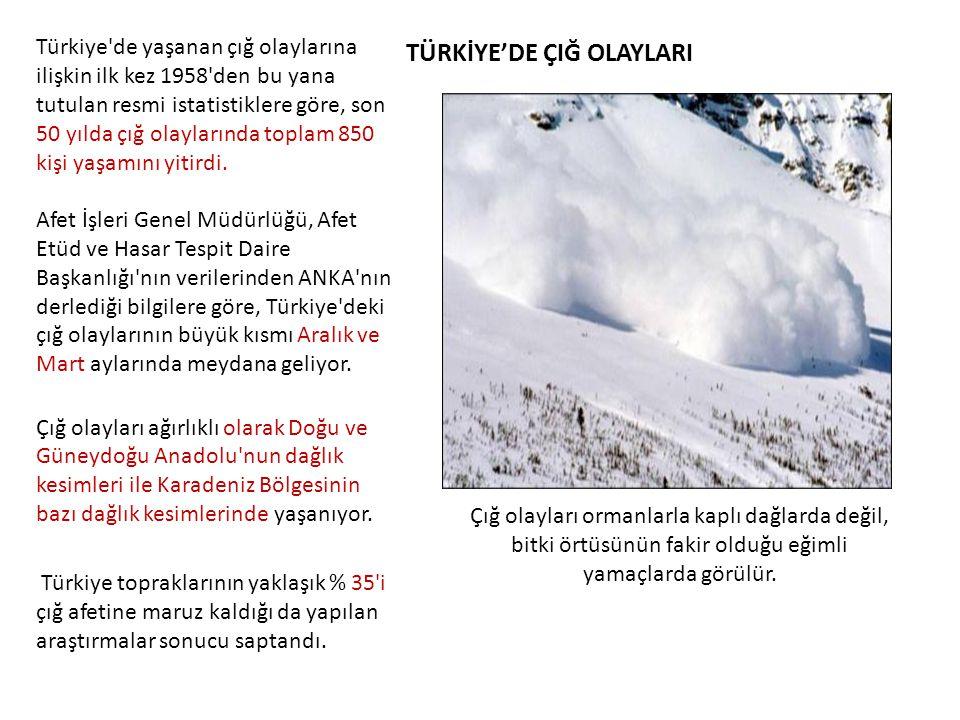 TÜRKİYE'DE ÇIĞ OLAYLARI Türkiye'de yaşanan çığ olaylarına ilişkin ilk kez 1958'den bu yana tutulan resmi istatistiklere göre, son 50 yılda çığ olaylar