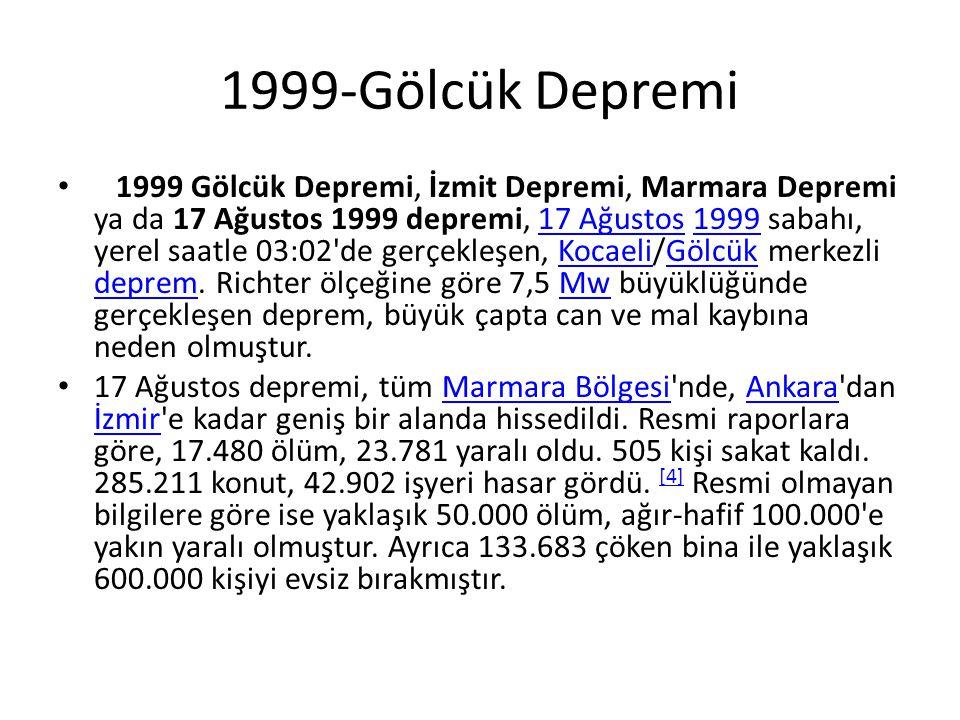 1999-Gölcük Depremi • 1999 Gölcük Depremi, İzmit Depremi, Marmara Depremi ya da 17 Ağustos 1999 depremi, 17 Ağustos 1999 sabahı, yerel saatle 03:02'de