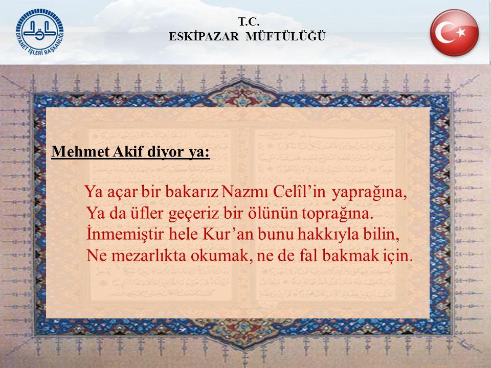 Mehmet Akif diyor ya: Ya açar bir bakarız Nazmı Celîl'in yaprağına, Ya da üfler geçeriz bir ölünün toprağına. İnmemiştir hele Kur'an bunu hakkıyla bil