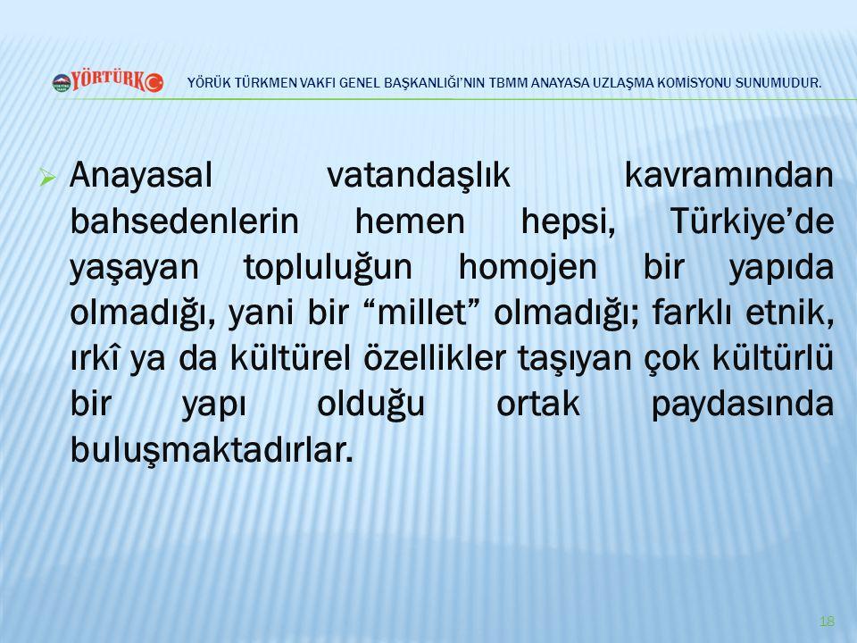 YÖRÜK TÜRKMEN VAKFI GENEL BAŞKANLIĞI'NIN TBMM ANAYASA UZLAŞMA KOMİSYONU SUNUMUDUR.  Anayasal vatandaşlık kavramından bahsedenlerin hemen hepsi, Türki