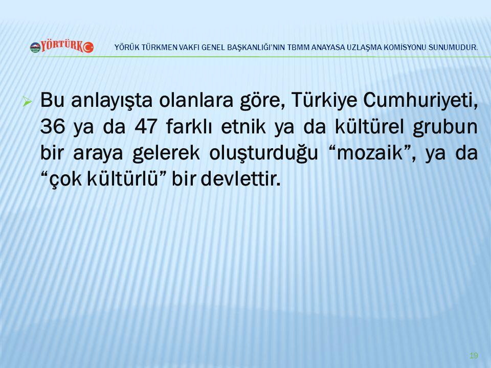 YÖRÜK TÜRKMEN VAKFI GENEL BAŞKANLIĞI'NIN TBMM ANAYASA UZLAŞMA KOMİSYONU SUNUMUDUR.  Bu anlayışta olanlara göre, Türkiye Cumhuriyeti, 36 ya da 47 fark