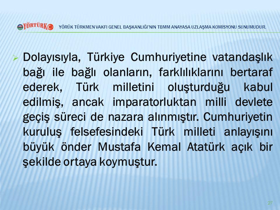 YÖRÜK TÜRKMEN VAKFI GENEL BAŞKANLIĞI'NIN TBMM ANAYASA UZLAŞMA KOMİSYONU SUNUMUDUR.  Dolayısıyla, Türkiye Cumhuriyetine vatandaşlık bağı ile bağlı ola