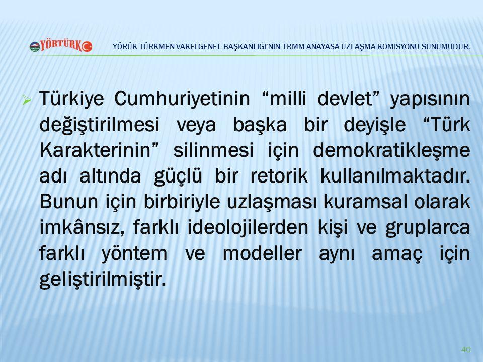 """YÖRÜK TÜRKMEN VAKFI GENEL BAŞKANLIĞI'NIN TBMM ANAYASA UZLAŞMA KOMİSYONU SUNUMUDUR.  Türkiye Cumhuriyetinin """"milli devlet"""" yapısının değiştirilmesi ve"""