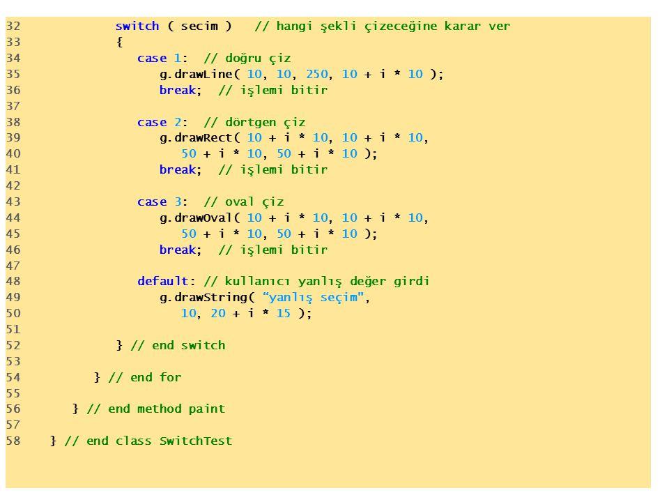 32 switch ( secim ) // hangi şekli çizeceğine karar ver 33 { 34 case 1: // doğru çiz 35 g.drawLine( 10, 10, 250, 10 + i * 10 ); 36 break; // işlemi bitir 37 38 case 2: // dörtgen çiz 39 g.drawRect( 10 + i * 10, 10 + i * 10, 40 50 + i * 10, 50 + i * 10 ); 41 break; // işlemi bitir 42 43 case 3: // oval çiz 44 g.drawOval( 10 + i * 10, 10 + i * 10, 45 50 + i * 10, 50 + i * 10 ); 46 break; // işlemi bitir 47 48 default: // kullanıcı yanlış değer girdi 49 g.drawString( yanlış seçim , 50 10, 20 + i * 15 ); 51 52 } // end switch 53 54 } // end for 55 56 } // end method paint 57 58 } // end class SwitchTest
