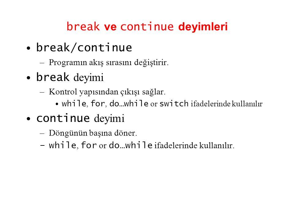 break ve continue deyimleri •break/continue –Programın akış sırasını değiştirir. •break deyimi –Kontrol yapısından çıkışı sağlar. •while, for, do…whil