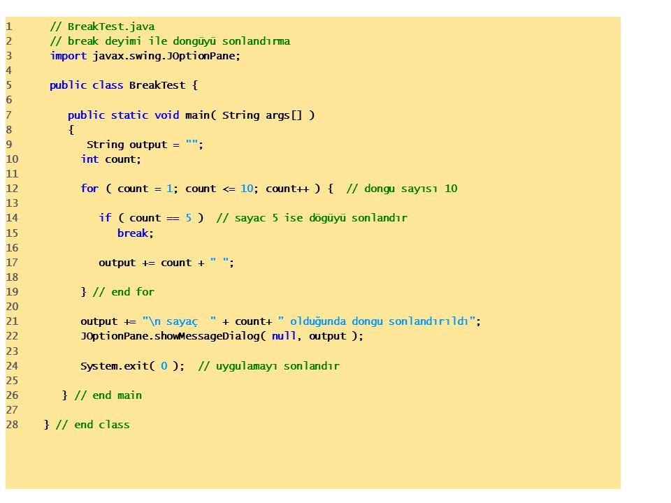 1 // BreakTest.java 2 // break deyimi ile dongüyü sonlandırma 3 import javax.swing.JOptionPane; 4 5 public class BreakTest { 6 7 public static void main( String args[] ) 8 { 9 String output = ; 10 int count; 11 12 for ( count = 1; count <= 10; count++ ) { // dongu sayısı 10 13 14 if ( count == 5 ) // sayac 5 ise dögüyü sonlandır 15 break; 16 17 output += count + ; 18 19 } // end for 20 21 output += \n sayaç + count+ olduğunda dongu sonlandırıldı ; 22 JOptionPane.showMessageDialog( null, output ); 23 24 System.exit( 0 ); // uygulamayı sonlandır 25 26 } // end main 27 28 } // end class