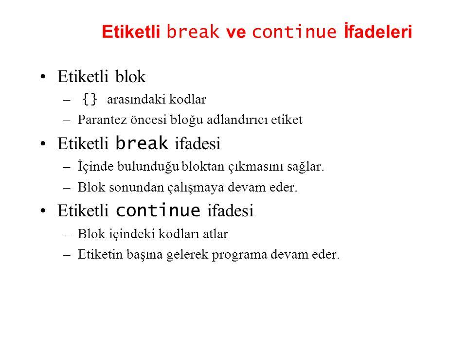 Etiketli break ve continue İfadeleri •Etiketli blok – {} arasındaki kodlar –Parantez öncesi bloğu adlandırıcı etiket •Etiketli break ifadesi –İçinde bulunduğu bloktan çıkmasını sağlar.
