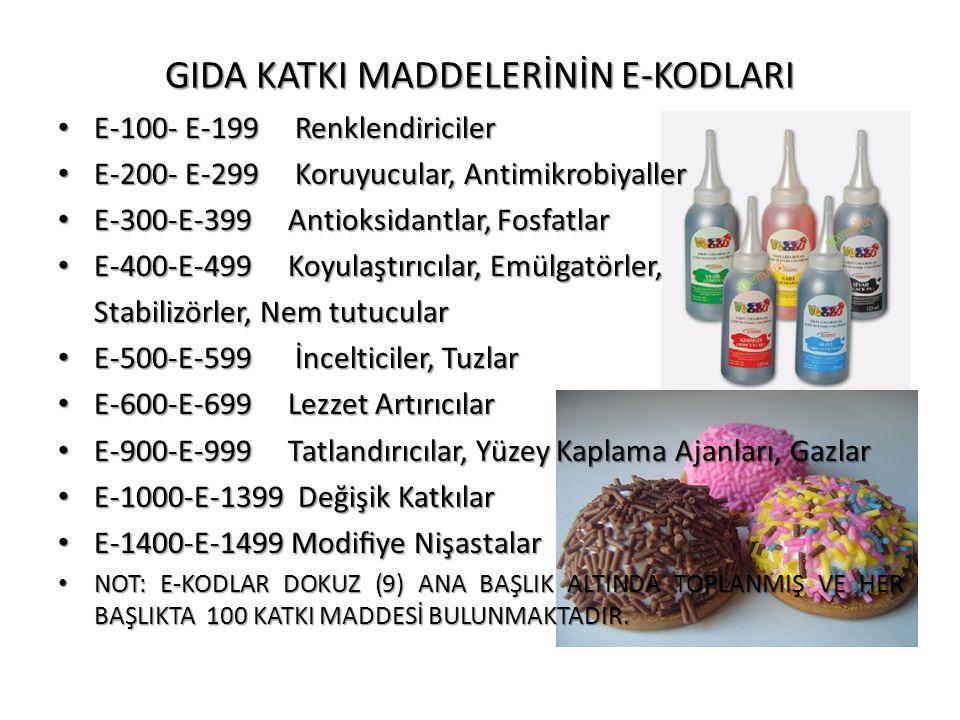 GIDA KATKI MADDELERİNİN E-KODLARI • E-100- E-199 Renklendiriciler • E-200- E-299 Koruyucular, Antimikrobiyaller • E-300-E-399 Antioksidantlar, Fosfatl