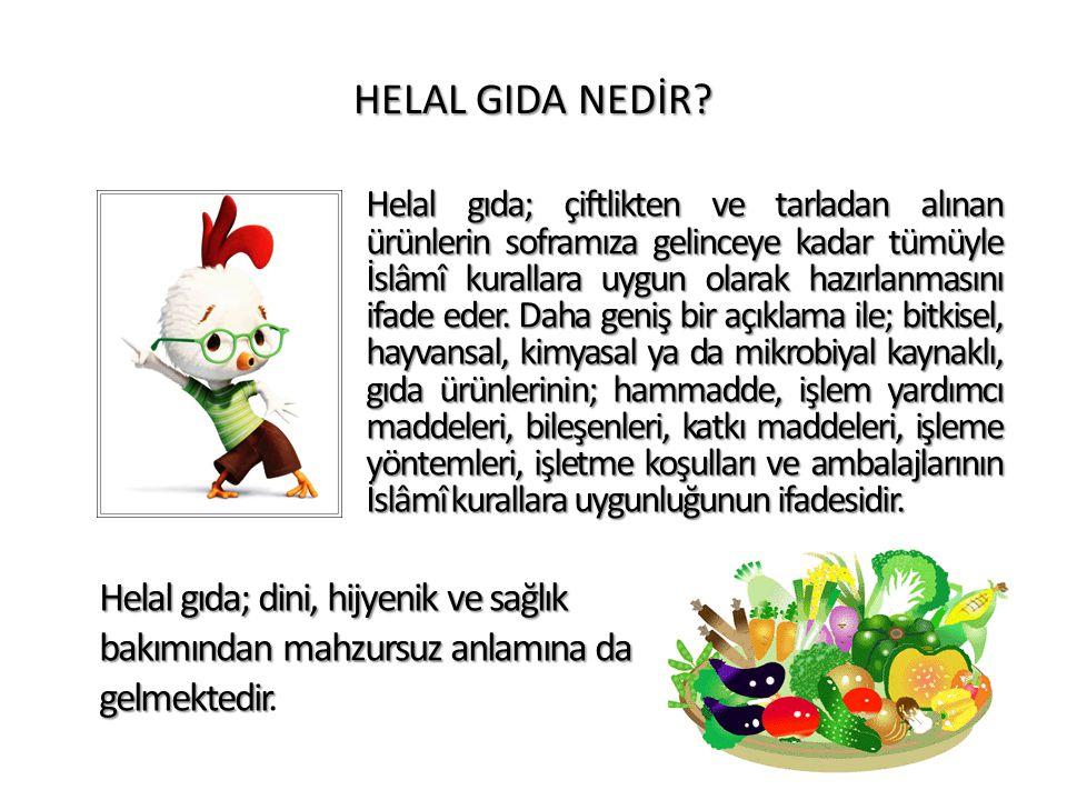 HELAL GIDA NEDİR? Helal gıda; çiftlikten ve tarladan alınan ürünlerin soframıza gelinceye kadar tümüyle İslâmî kurallara uygun olarak hazırlanmasını i