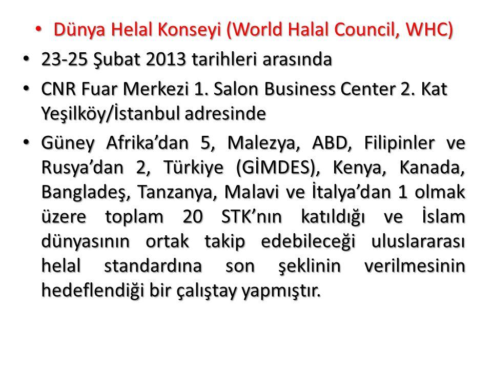 • Dünya Helal Konseyi (World Halal Council, WHC) • 23-25 Şubat 2013 tarihleri arasında • CNR Fuar Merkezi 1. Salon Business Center 2. Kat Yeşilköy/İst
