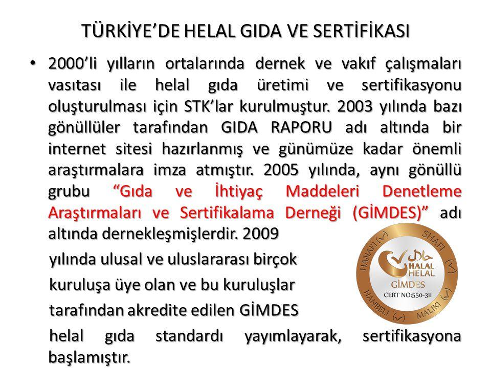 TÜRKİYE'DE HELAL GIDA VE SERTİFİKASI • 2000'li yılların ortalarında dernek ve vakıf çalışmaları vasıtası ile helal gıda üretimi ve sertifikasyonu oluş