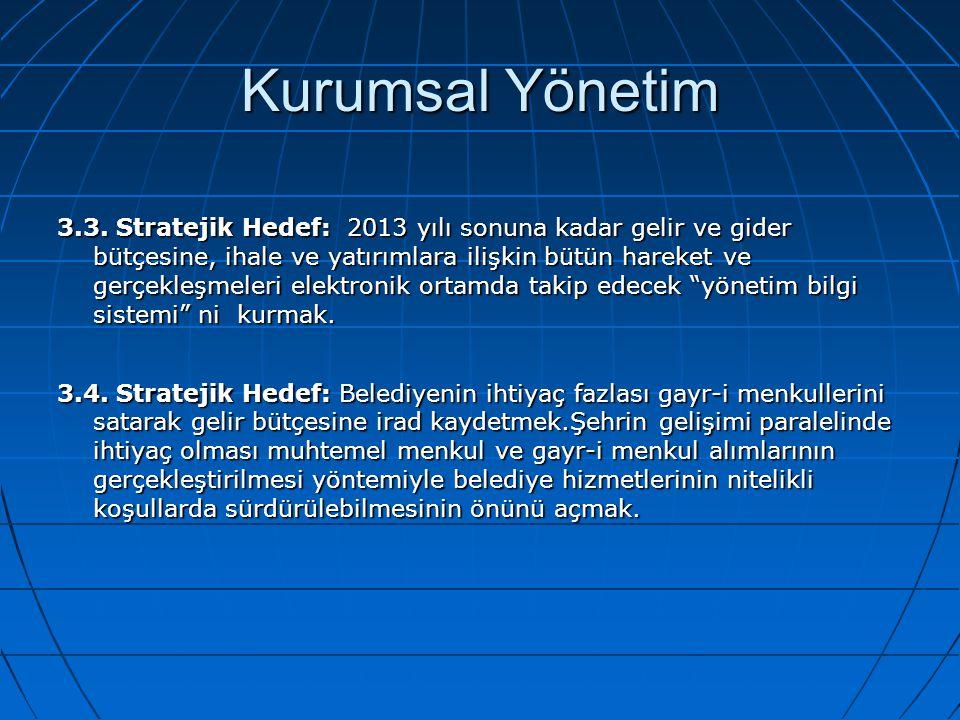 Kurumsal Yönetim 3.3. Stratejik Hedef: 2013 yılı sonuna kadar gelir ve gider bütçesine, ihale ve yatırımlara ilişkin bütün hareket ve gerçekleşmeleri