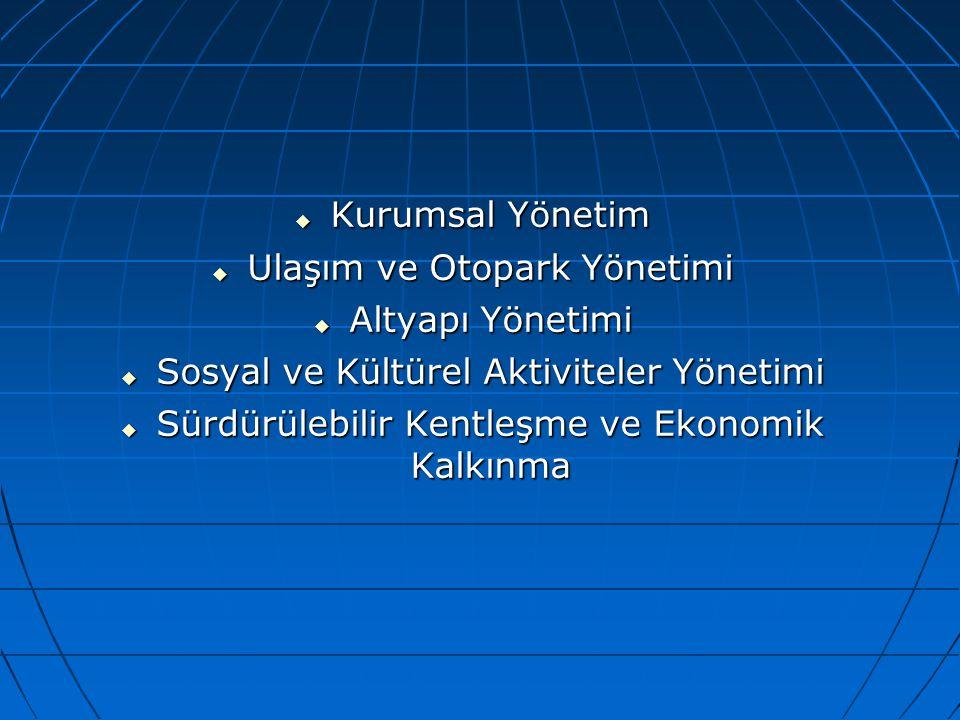  Kurumsal Yönetim  Ulaşım ve Otopark Yönetimi  Altyapı Yönetimi  Sosyal ve Kültürel Aktiviteler Yönetimi  Sürdürülebilir Kentleşme ve Ekonomik Ka