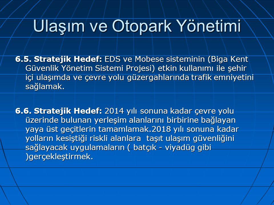 Ulaşım ve Otopark Yönetimi 6.5. Stratejik Hedef: EDS ve Mobese sisteminin (Biga Kent Güvenlik Yönetim Sistemi Projesi) etkin kullanımı ile şehir içi u