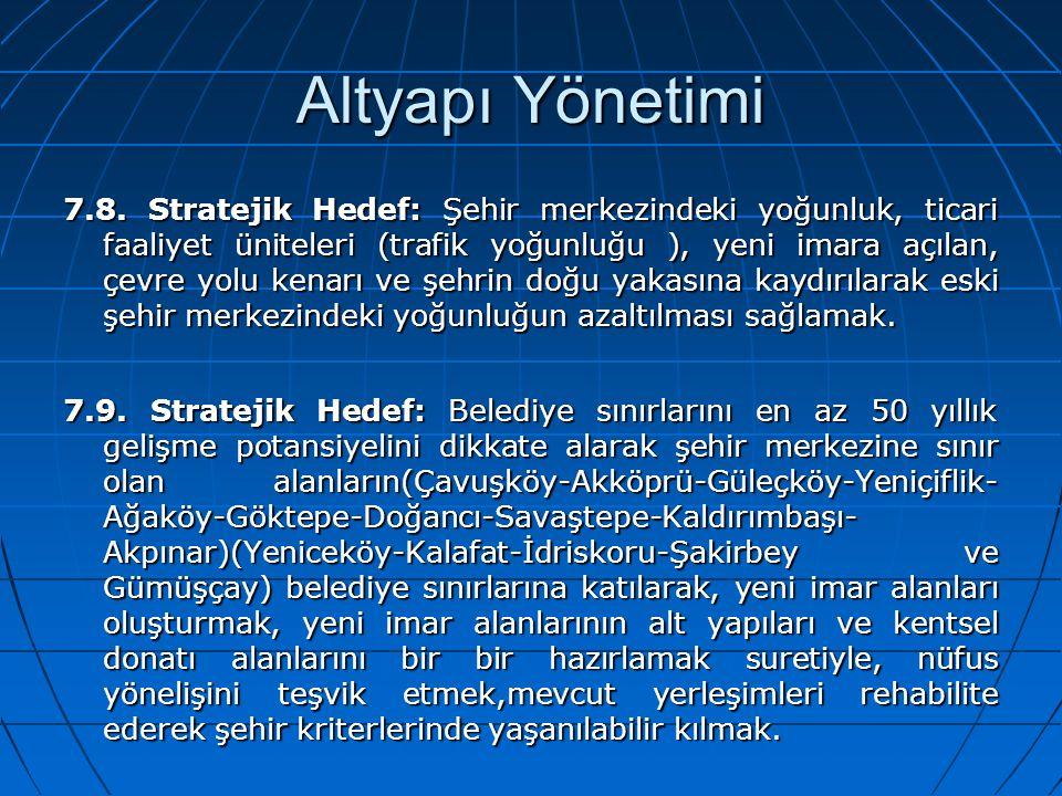 Altyapı Yönetimi 7.8. Stratejik Hedef: Şehir merkezindeki yoğunluk, ticari faaliyet üniteleri (trafik yoğunluğu ), yeni imara açılan, çevre yolu kenar