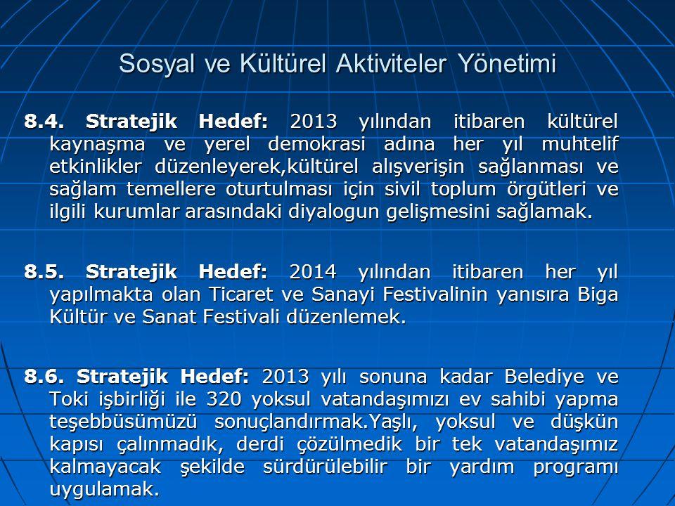 Sosyal ve Kültürel Aktiviteler Yönetimi 8.4. Stratejik Hedef: 2013 yılından itibaren kültürel kaynaşma ve yerel demokrasi adına her yıl muhtelif etkin