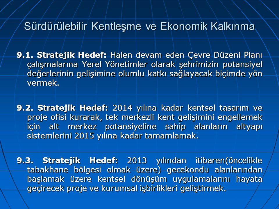Sürdürülebilir Kentleşme ve Ekonomik Kalkınma 9.1. Stratejik Hedef: Halen devam eden Çevre Düzeni Planı çalışmalarına Yerel Yönetimler olarak şehrimiz