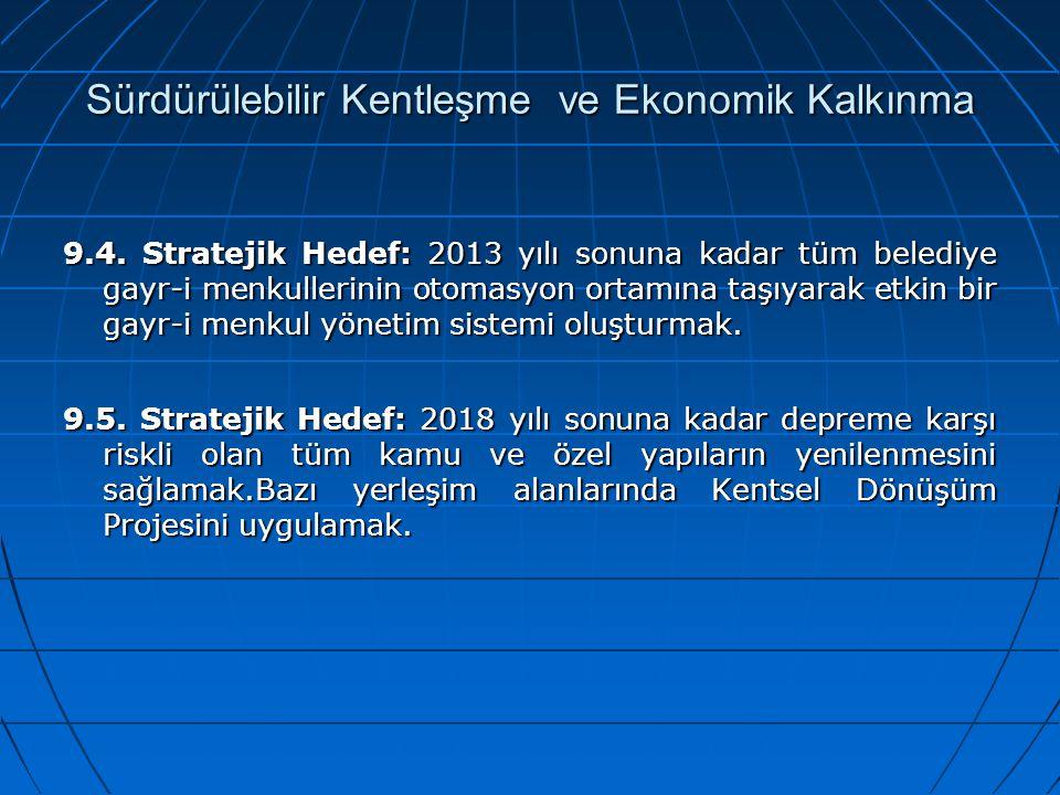 Sürdürülebilir Kentleşme ve Ekonomik Kalkınma 9.4. Stratejik Hedef: 2013 yılı sonuna kadar tüm belediye gayr-i menkullerinin otomasyon ortamına taşıya