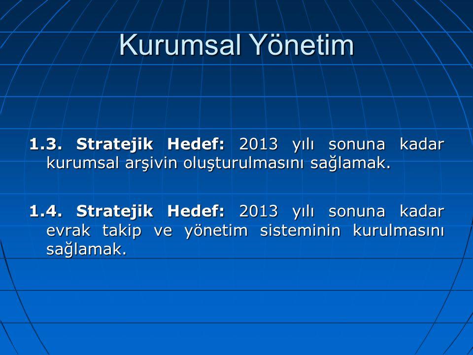 Kurumsal Yönetim 1.3. Stratejik Hedef: 2013 yılı sonuna kadar kurumsal arşivin oluşturulmasını sağlamak. 1.4. Stratejik Hedef: 2013 yılı sonuna kadar