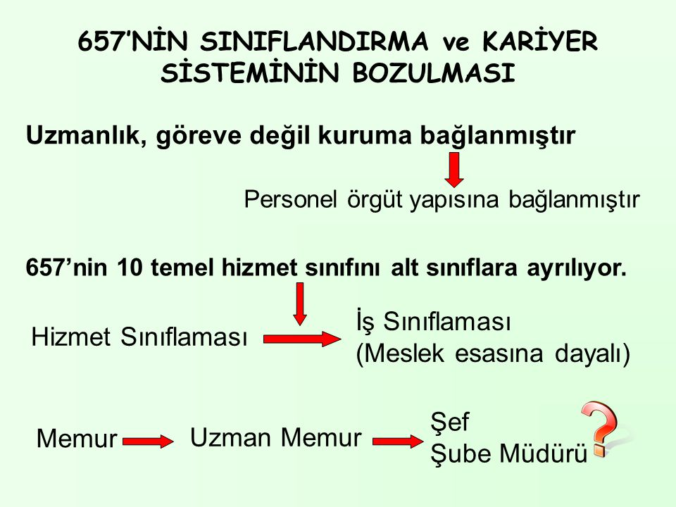 657'NİN SINIFLANDIRMA ve KARİYER SİSTEMİNİN BOZULMASI Uzmanlık, göreve değil kuruma bağlanmıştır Personel örgüt yapısına bağlanmıştır 657'nin 10 temel