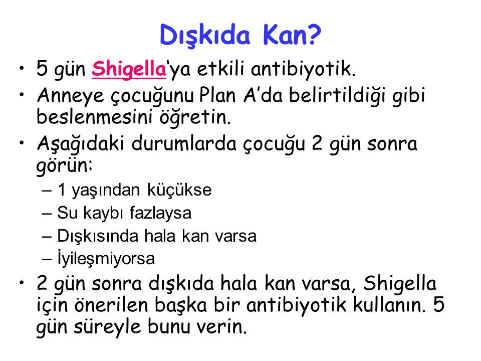 Dışkıda Kan.•5 gün Shigella'ya etkili antibiyotik.