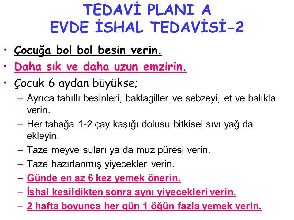 TEDAVİ PLANI A EVDE İSHAL TEDAVİSİ-2 •Çocuğa bol bol besin verin.