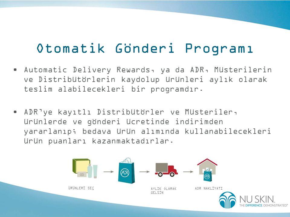 Otomatik Gönderi Programı •Automatic Delivery Rewards, ya da ADR, Müsterilerin ve Distribütörlerin kaydolup ürünleri aylık olarak teslim alabilecekler